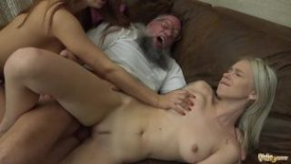 Ash-blonde And Dark-haired Teenagers In Older Youthfull Three Way Poked By Way Of Grandfather Hard-on